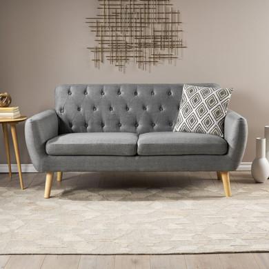 Mid Century Modern Tufted Fabric Love Seat
