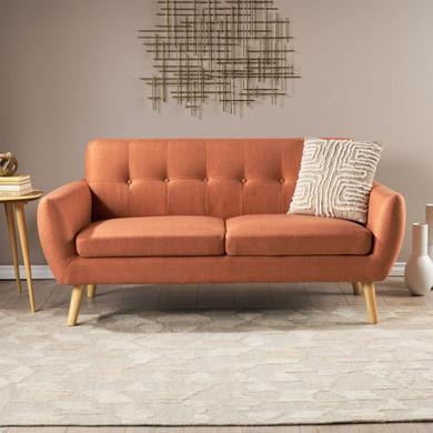 Mid Century Tufted Fabric Love Seat