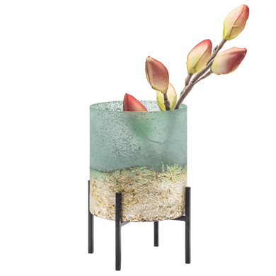 """Cambria Sea-green Metallic Etched Glass 5d"""" Cylinder Vase On Stand"""