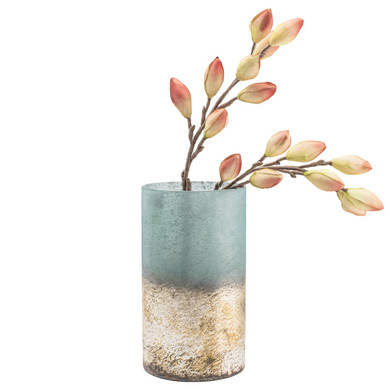 """Cambria Sea-green Metallic Etched Glass 12h"""" Cylinder Vase"""