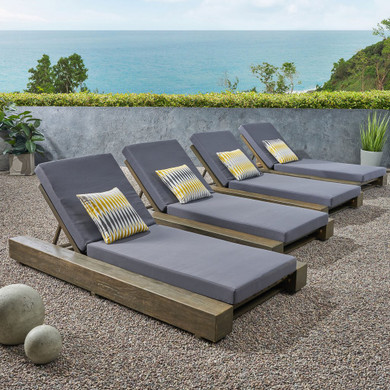 Acacia Wood Chaise Lounge and Cushion Sets (Set of 4)