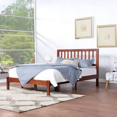 Farmhouse Acacia Wood Queen Bed