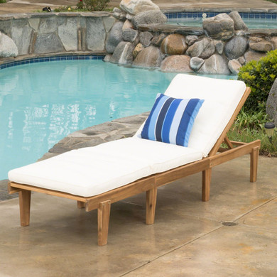 Outdoor Teak Brown Wood Chaise Lounge