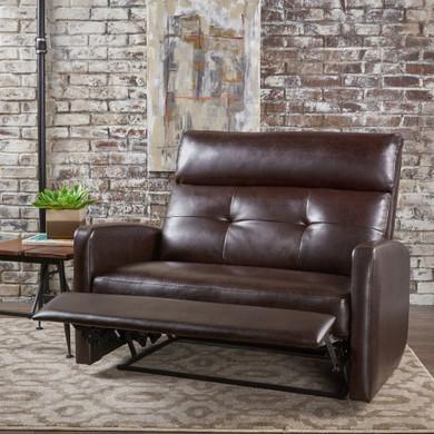 Plush Leather Loveseat Recliner