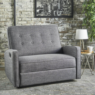 Buttoned Fabric Reclining Loveseat