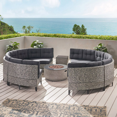 8 Seater Outdoor Set with Fire Pit and Tank Holder