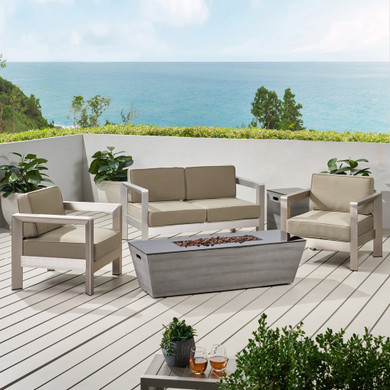 Outdoor Aluminum Set with Fire Pit and Tank Holder