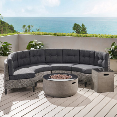 4 Seater Outdoor Set with Fire Pit and Tank Holder