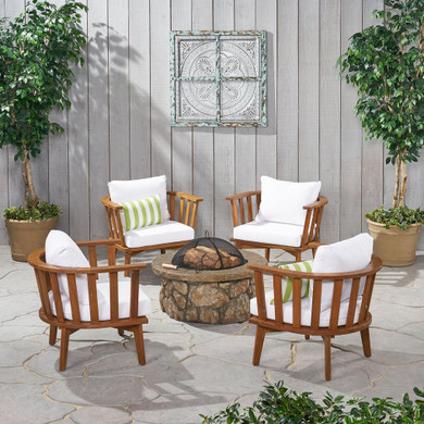 Outdoor Club Chairs and Fire Pit Set