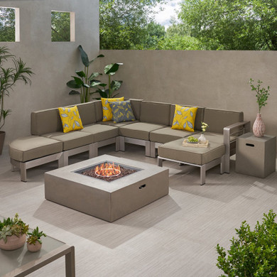 5 Seater Outdoor Set with Fire Pit and Tank Holder