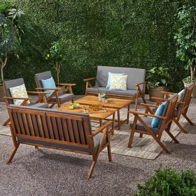 8 Seater Acacia Wood Set