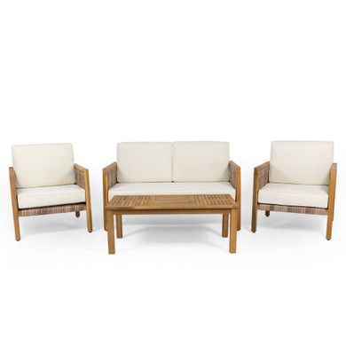 Acacia Wood Chat Set with Wicker Accents