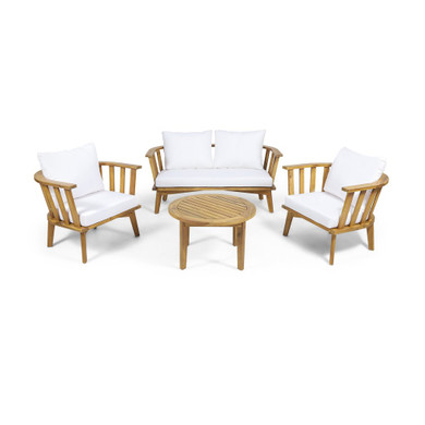 Outdoor Wooden Chat Set with Round Coffee Table