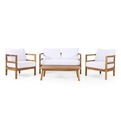 Teak and White Outdoor Acacia Wood 4-Seater Set