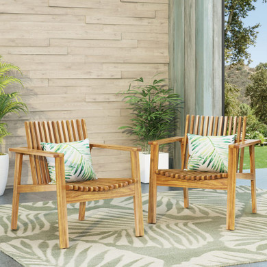 Outdoor Acacia Wood Slatted Club Chairs