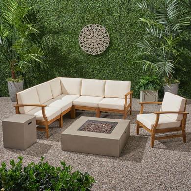 Outdoor 6 Seater Acacia Wood Sofa Set