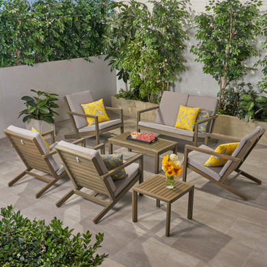 Outdoor 6 Seater Acacia Wood Extended Chat Set