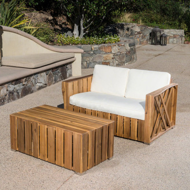 Outdoor Acacia Wood Loveseat and Coffee Table Set