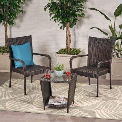 Outdoor 3 Piece Wicker Chair Set