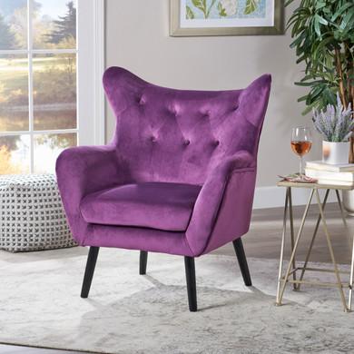 Velvet Tufted Wingback Armchair