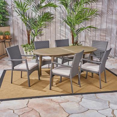 Outdoor 7-Piece Acacia Wood Dining Set