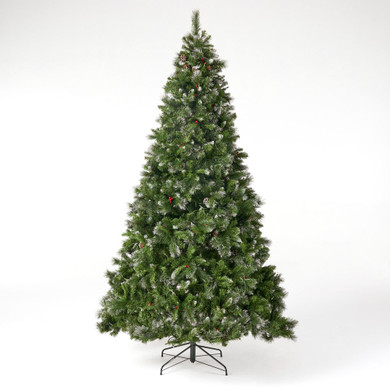 9-foot Mixed Spruce Pre-Lit Artificial Christmas Tree with Glitter Branches