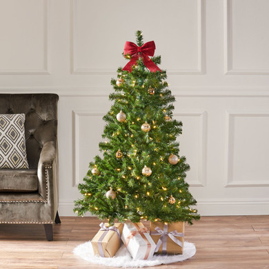 4.5-foot Noble Fir Pre-Lit Clear LED Hinged Artificial Christmas Tree