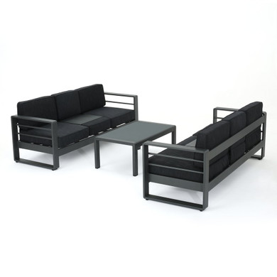 Coral Bay Outdoor Gray Aluminum 3 Piece Sofa Set