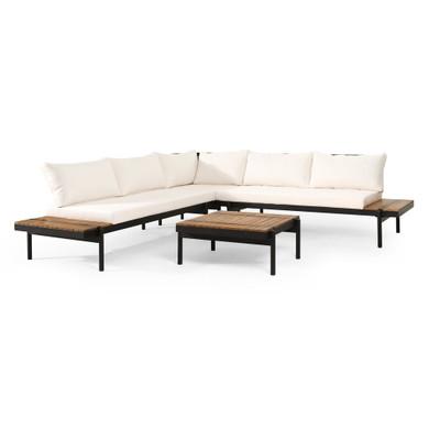 Outdoor Acacia Wood 5 Cream Seater Sectional Sofa Set
