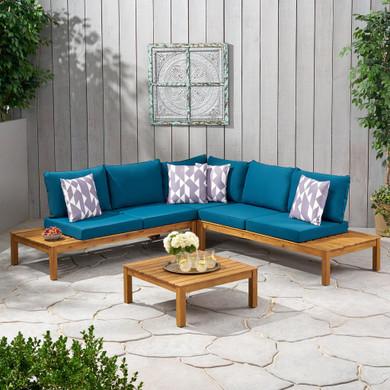 Outdoor 5 Seater V Shaped Acacia Wood Sectional Sofa Set