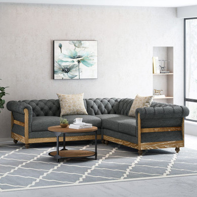Chesterfield Tufted Fabric 5 Seater Sectional Sofa