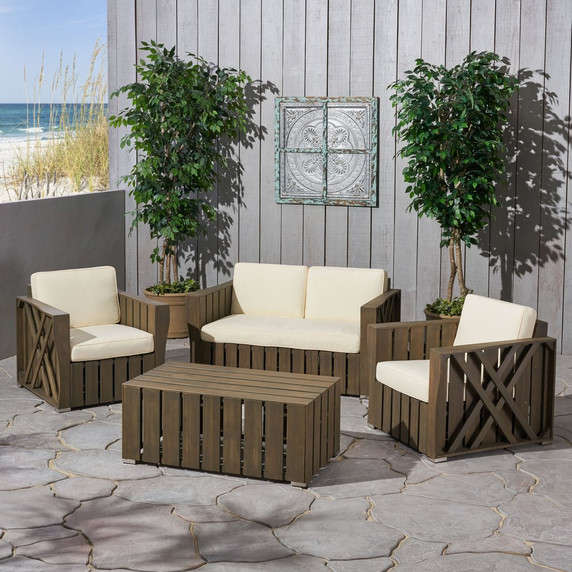 Outdoor 4-piece Acacia Wood Chat Set with Cushions