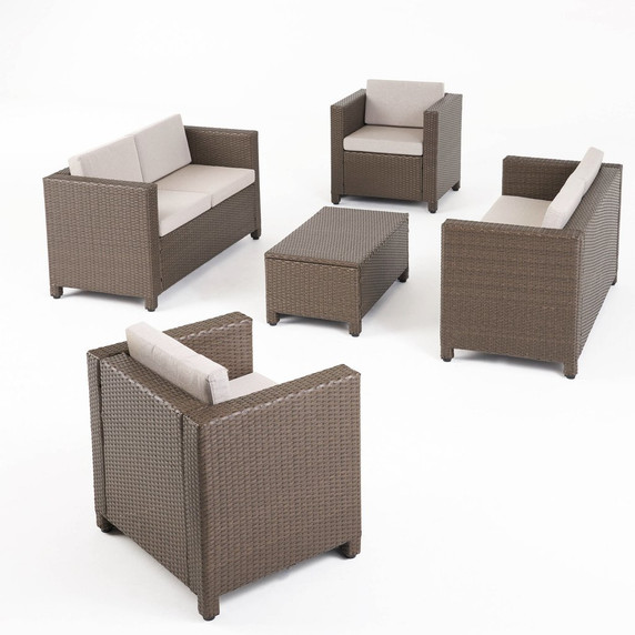6-Seater Outdoor Brown PE Wicker Sofa Set with Coffee Table