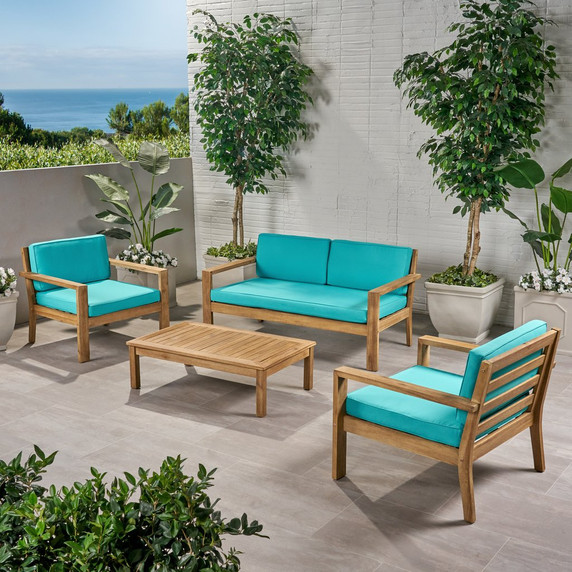 Outdoor 4 Seater Acacia Wood Chat Set