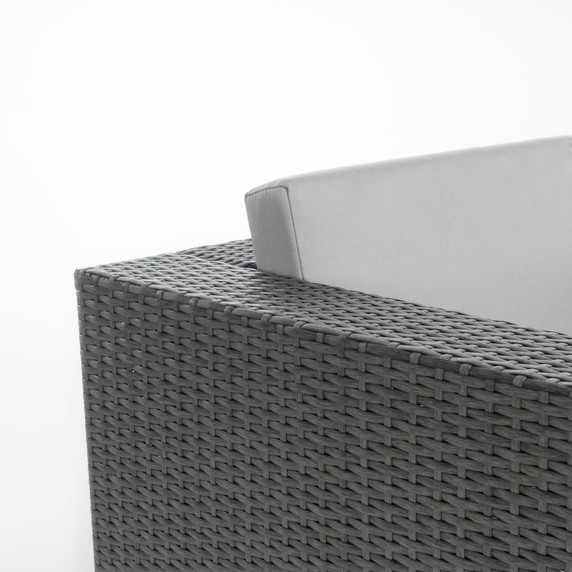 Multi-Grey PE 2pc Outdoor Sofa and Coffee Table Set