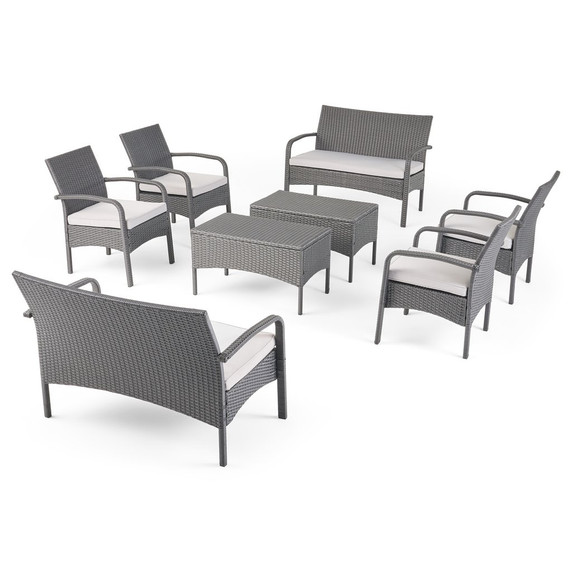 8 Seater Wicker Chat Set with Cushions