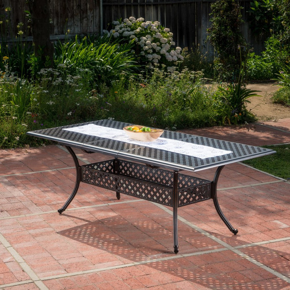 Outdoor Copper Finish Expandable Dining Table