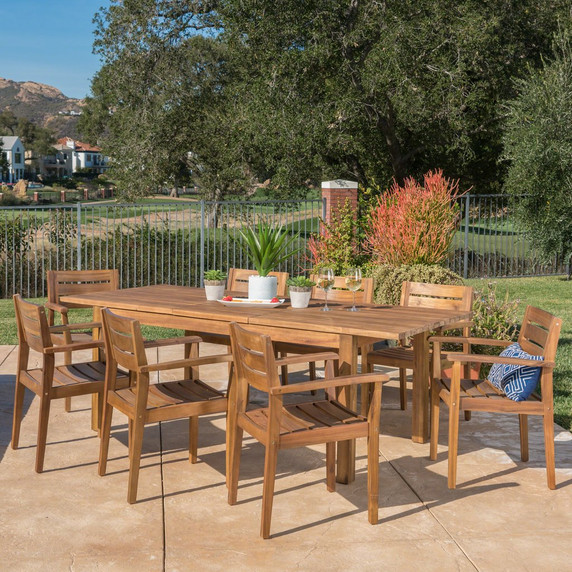 9 Piece Acacia Wood Dining Set with Expandable Dining Table