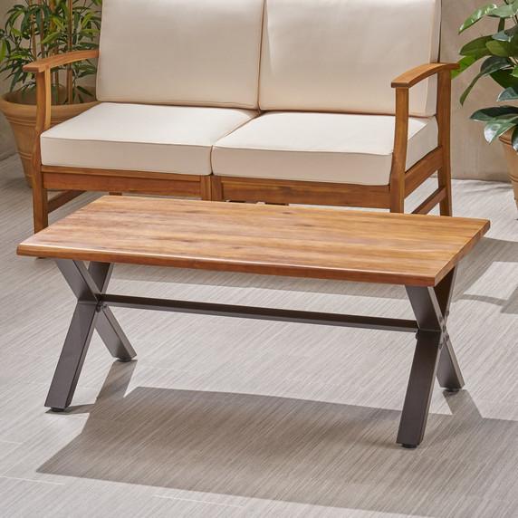 Outdoor Farmhouse Teak Acacia Wood Coffee Table