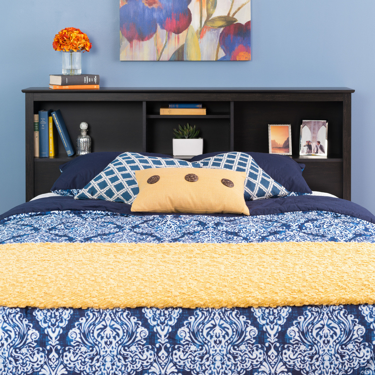 Sonoma Double Queen Bookcase Headboard Washed Black