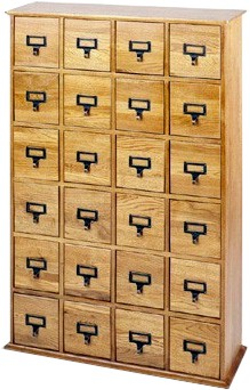 Hardwood Library 192 Dvd 456 Cd Storage Drawer Cabinet Oak