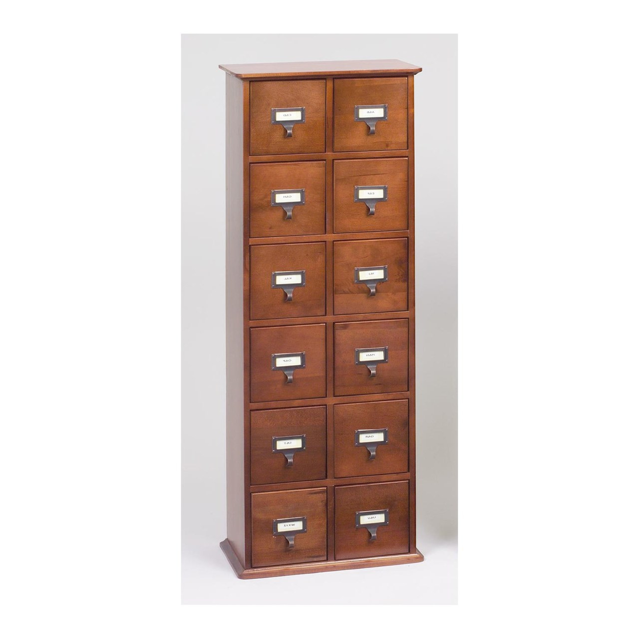 Hardwood Library Style 228 Cd 96 Dvd Storage Drawer Cabinet Walnut
