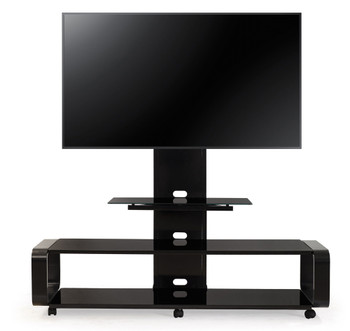 Curved Wood TV Stand/cart with Mount for 35 - 85 inch TV Black