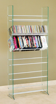 Clear Glass CD/DVD Storage Rack