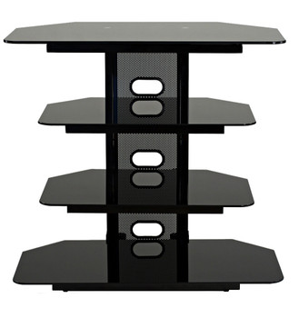 "Corner TV stand with 3 AV shelves for up to 35"" LCD TV"