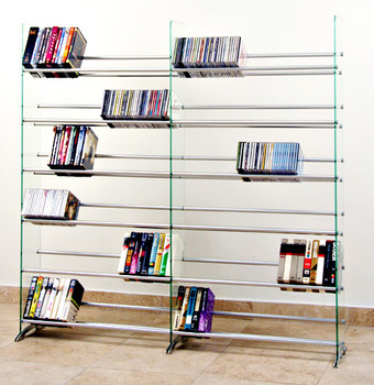 Clear Glass Multimedia CD/DVD Rack for 792 CD 552 DVD