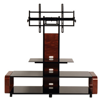 Curved Wood TV Stand/cart with Mount for 35 - 85 inch TV Dark Oak/Black