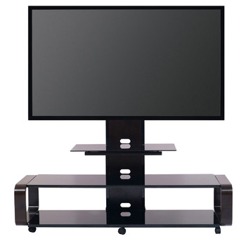 Curved Wood TV Stand/cart with Mount for 35 - 85 inch TV Espresso/Black