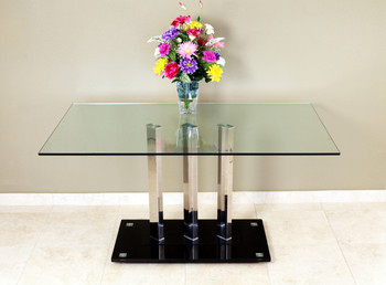 TransDeco Glass & Stainless Steel Dining Table
