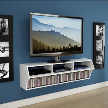 "Altus Plus 58"" Floating TV Stand, White"